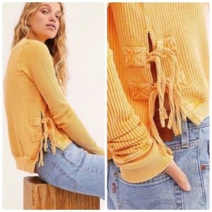Free People FP One Interlaken Lace Up Thermal Top